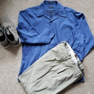 Mens fitted blue dress shirt size large Arrow